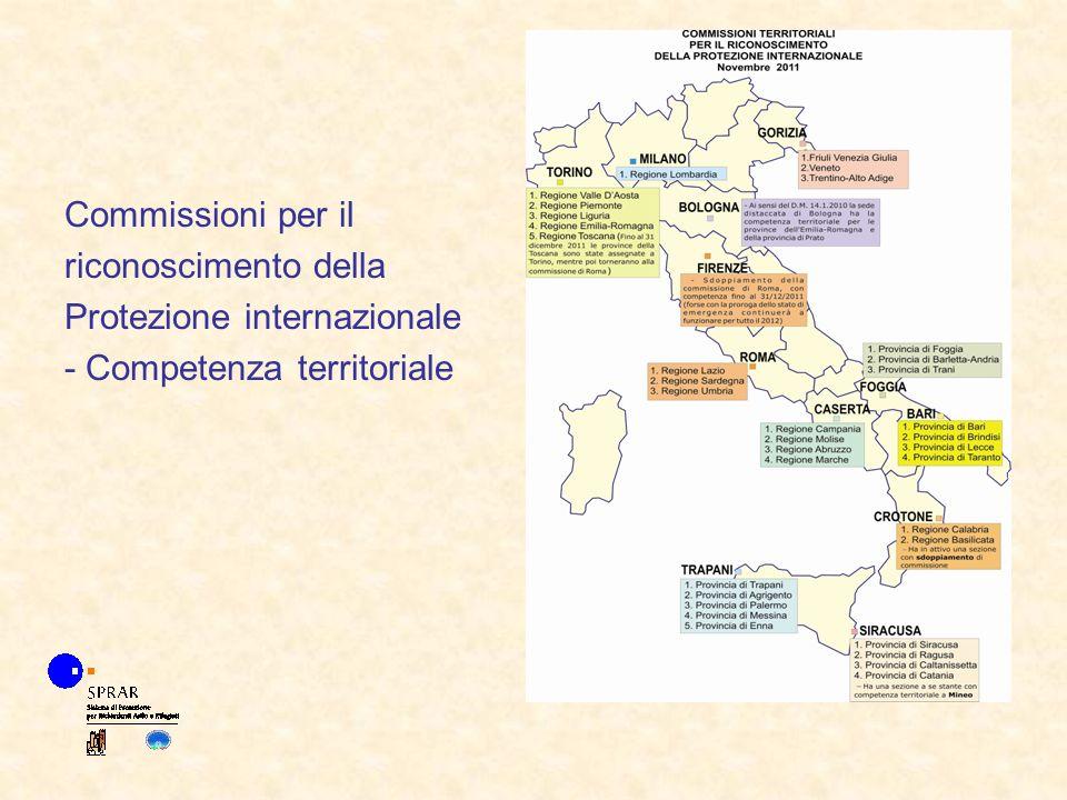 Commissioni per il riconoscimento della Protezione internazionale - Competenza territoriale