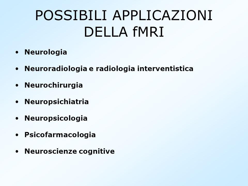 POSSIBILI APPLICAZIONI DELLA fMRI Neurologia Neuroradiologia e radiologia interventistica Neurochirurgia Neuropsichiatria Neuropsicologia Psicofarmaco