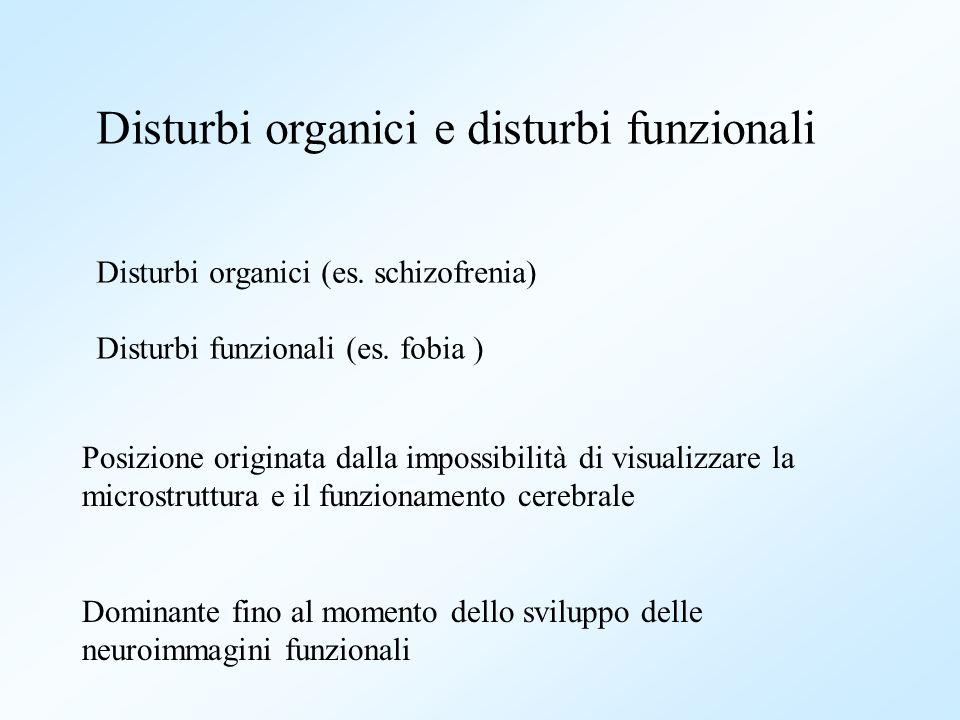 Disturbi organici e disturbi funzionali Disturbi organici (es. schizofrenia) Disturbi funzionali (es. fobia ) Posizione originata dalla impossibilità