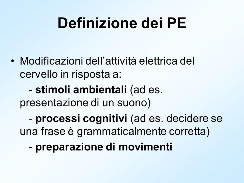 Definizione dei PE Modificazioni dellattività elettrica del cervello in risposta a: - stimoli ambientali (ad es. presentazione di un suono) - processi