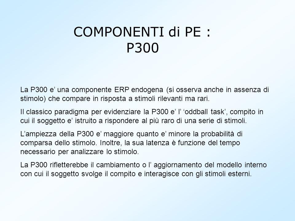 La P300 e una componente ERP endogena (si osserva anche in assenza di stimolo) che compare in risposta a stimoli rilevanti ma rari. Il classico paradi