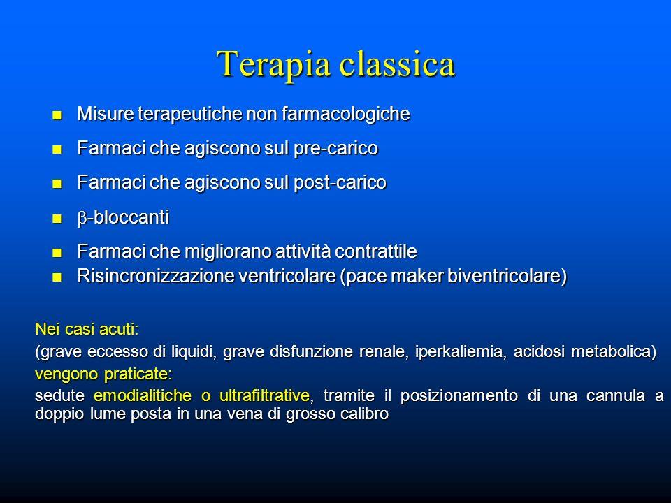 Terapia classica Misure terapeutiche non farmacologiche Misure terapeutiche non farmacologiche Farmaci che agiscono sul pre-carico Farmaci che agiscon