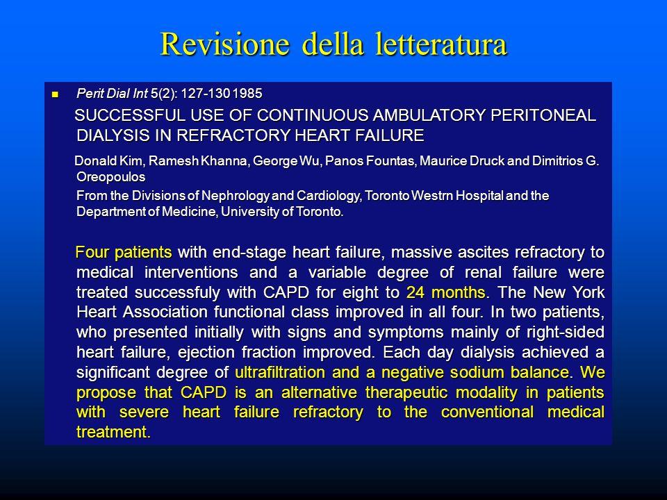 Metodi e parametri di valutazione Le metodiche dialitiche peritoneali utilizzate sono state: paziente 1: NIPD 9 L (1,36%), I° carico 1700 ml (tidal 700 ml), dwell time 30, 13 cicli, 5 gg.