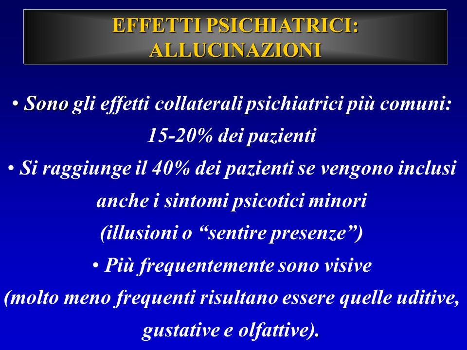 EFFETTI PSICHIATRICI: ALLUCINAZIONI Sono Sono gli effetti collaterali psichiatrici più comuni: 15-20% dei pazienti Si raggiunge il 40% dei pazienti se