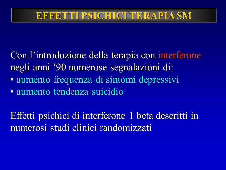 EFFETTI PSICHICI TERAPIA SM Con lintroduzione della terapia con interferone negli anni 90 numerose segnalazioni di: aumento frequenza di sintomi depre