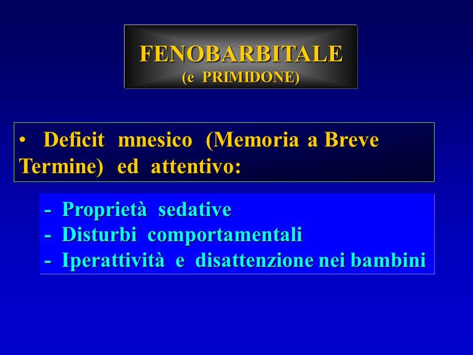 FENOBARBITALE (e PRIMIDONE) Deficit mnesico (Memoria a Breve Termine) ed attentivo: Deficit mnesico (Memoria a Breve Termine) ed attentivo: - Propriet