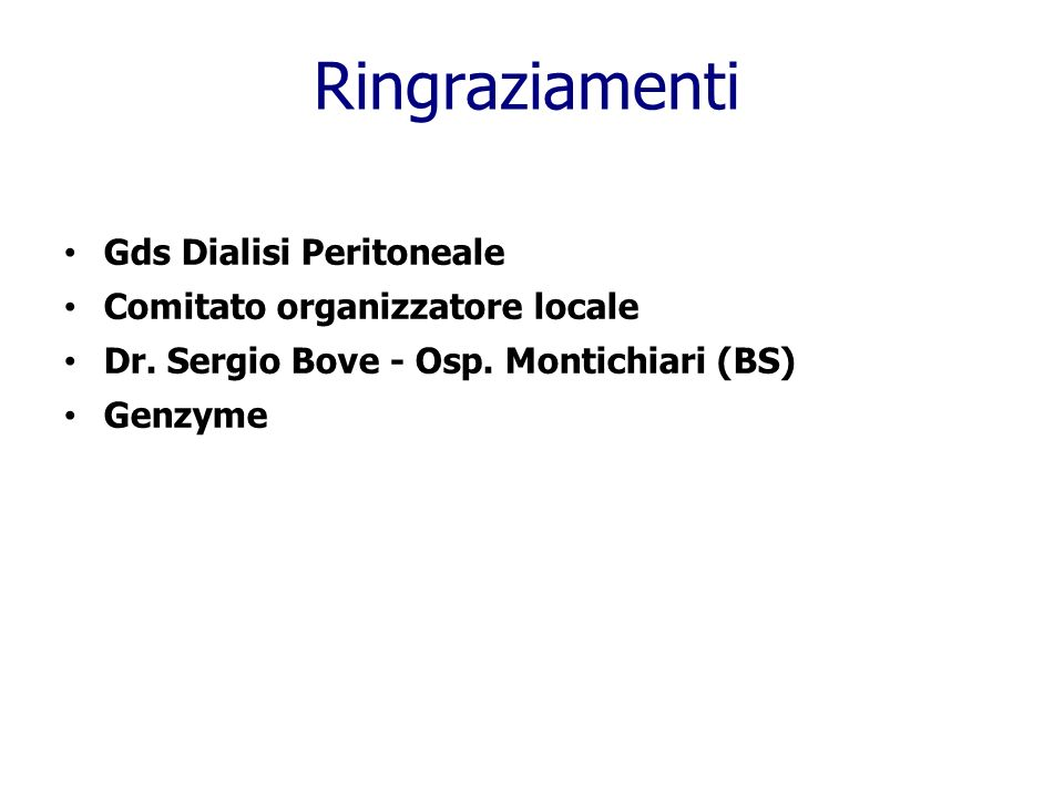 Gds Dialisi Peritoneale Comitato organizzatore locale Dr.