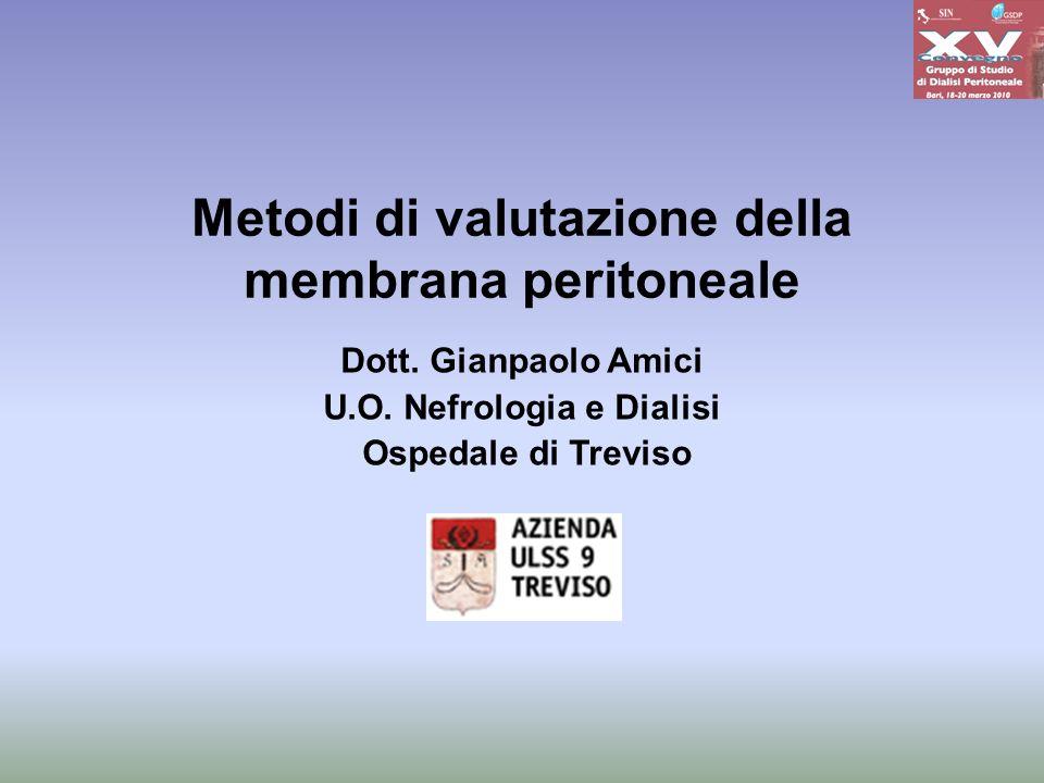 Metodi di valutazione della membrana peritoneale Dott. Gianpaolo Amici U.O. Nefrologia e Dialisi Ospedale di Treviso
