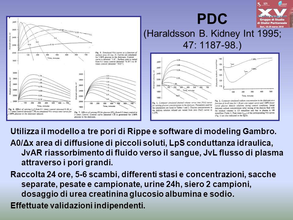 PDC (Haraldsson B. Kidney Int 1995; 47: 1187-98.) Utilizza il modello a tre pori di Rippe e software di modeling Gambro. A0/Δx area di diffusione di p