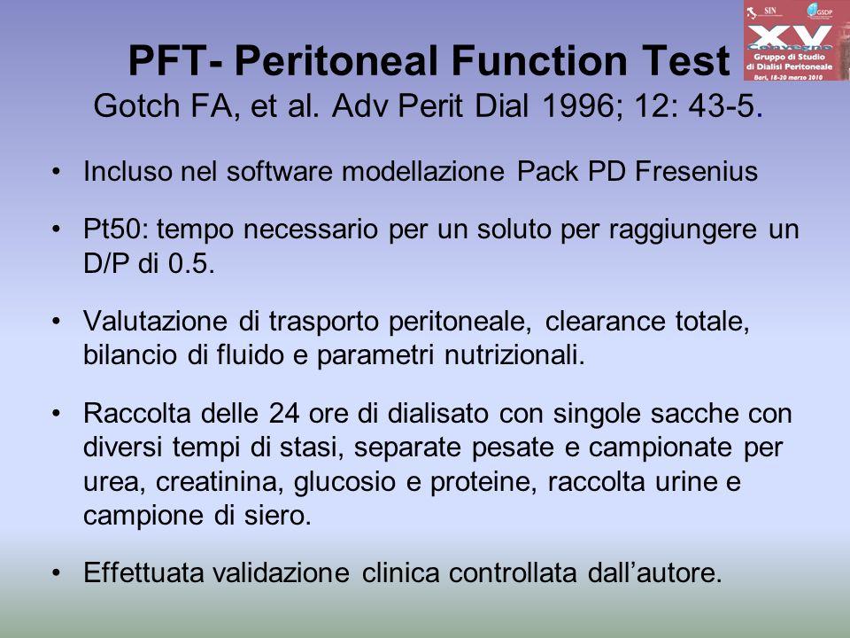 PFT- Peritoneal Function Test Gotch FA, et al. Adv Perit Dial 1996; 12: 43-5. Incluso nel software modellazione Pack PD Fresenius Pt50: tempo necessar