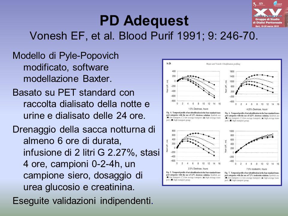 PD Adequest Vonesh EF, et al. Blood Purif 1991; 9: 246-70. Modello di Pyle-Popovich modificato, software modellazione Baxter. Basato su PET standard c