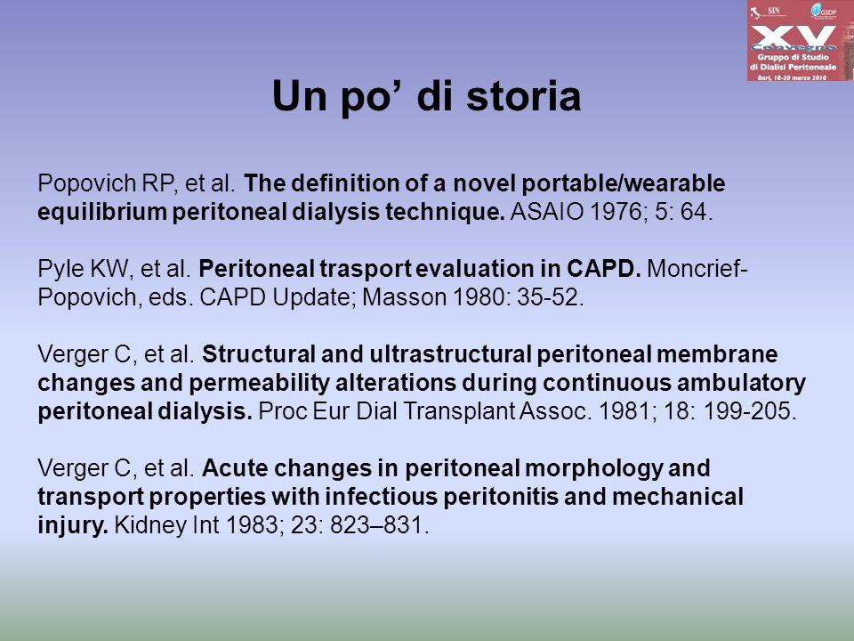 Popovich RP, et al. The definition of a novel portable/wearable equilibrium peritoneal dialysis technique. ASAIO 1976; 5: 64. Pyle KW, et al. Peritone
