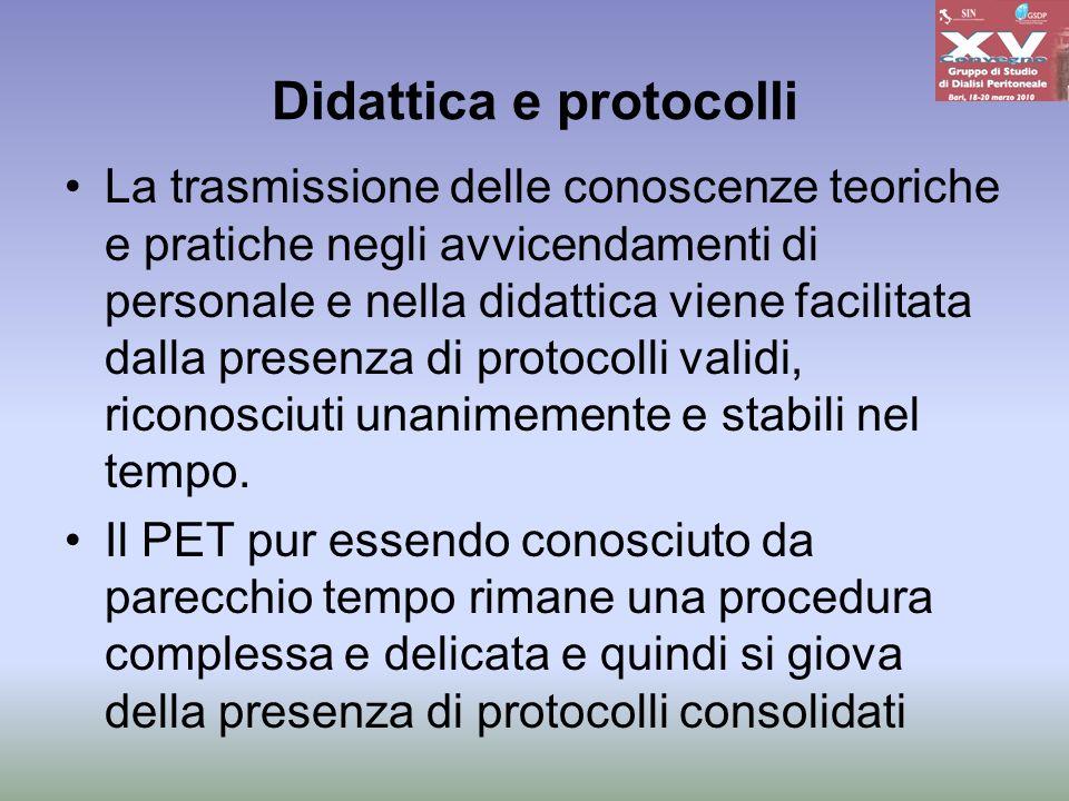 Didattica e protocolli La trasmissione delle conoscenze teoriche e pratiche negli avvicendamenti di personale e nella didattica viene facilitata dalla