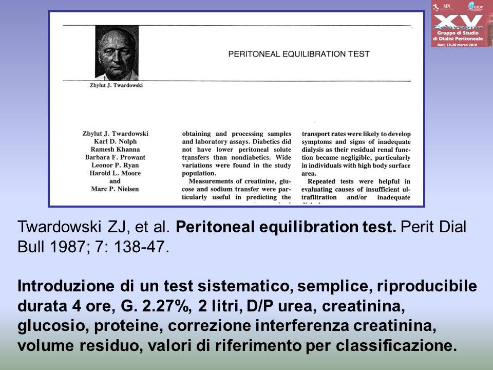 Twardowski ZJ, et al. Peritoneal equilibration test. Perit Dial Bull 1987; 7: 138-47. Introduzione di un test sistematico, semplice, riproducibile dur