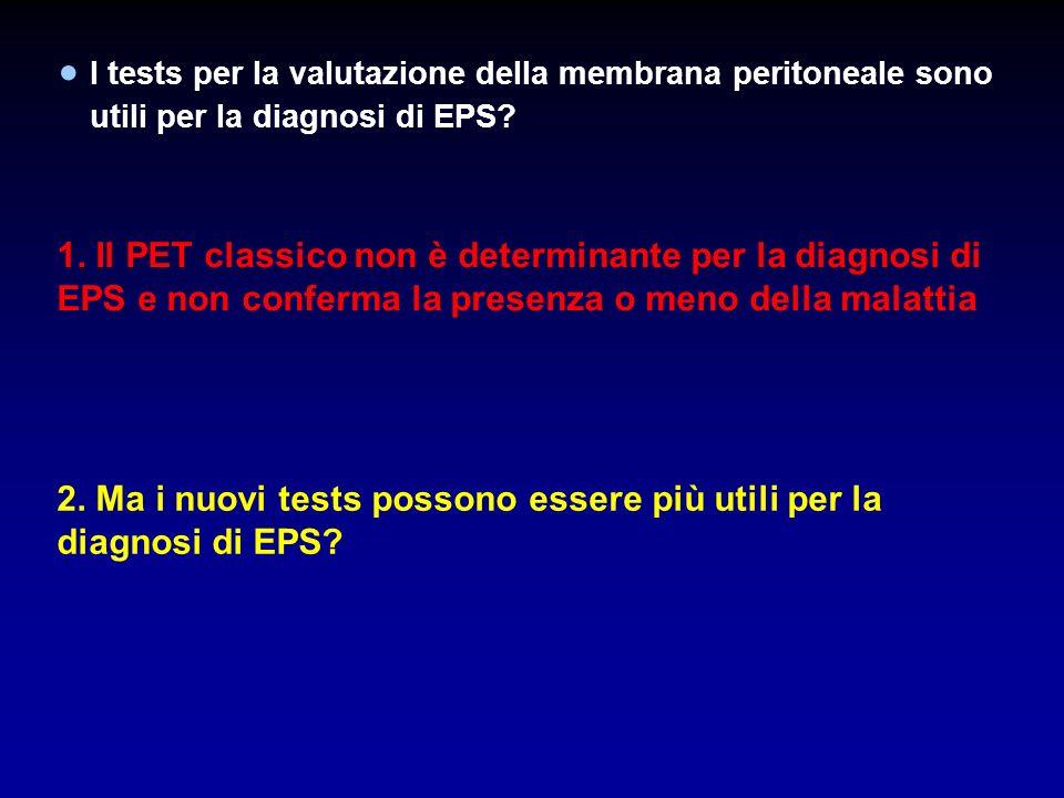 I tests per la valutazione della membrana peritoneale sono utili per la diagnosi di EPS? 1. Il PET classico non è determinante per la diagnosi di EPS