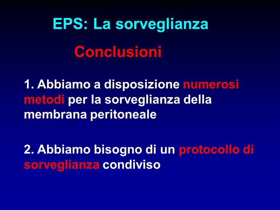 EPS: La sorveglianza Conclusioni 1. Abbiamo a disposizione numerosi metodi per la sorveglianza della membrana peritoneale 2. Abbiamo bisogno di un pro