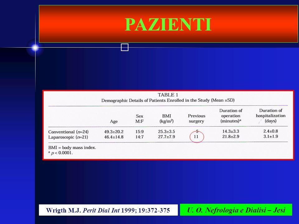 U. O. Nefrologia e Dialisi – Jesi PAZIENTI Wrigth M.J. Perit Dial Int 1999; 19:372-375