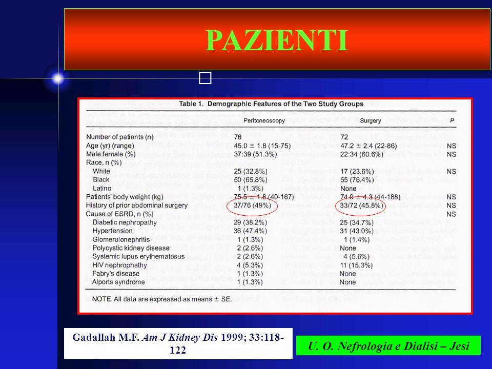 U. O. Nefrologia e Dialisi – Jesi PAZIENTI Gadallah M.F. Am J Kidney Dis 1999; 33:118- 122