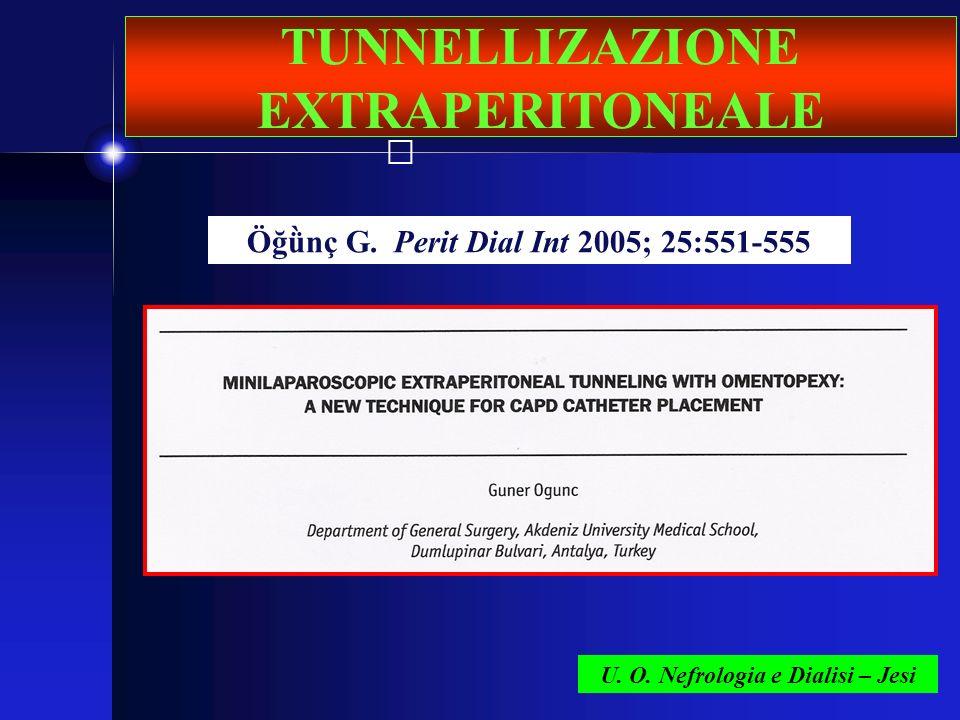 U. O. Nefrologia e Dialisi – Jesi TUNNELLIZAZIONE EXTRAPERITONEALE Öğǜnç G. Perit Dial Int 2005; 25:551-555