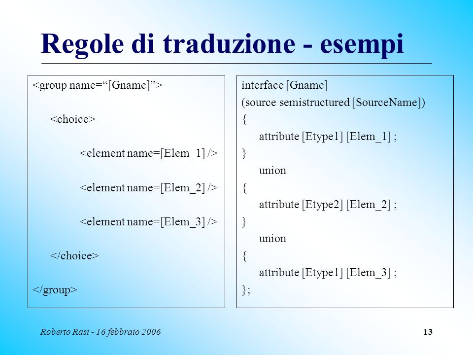Roberto Rasi - 16 febbraio 200613 Regole di traduzione - esempi interface [Gname] (source semistructured [SourceName]) { attribute [Etype1] [Elem_1] ;