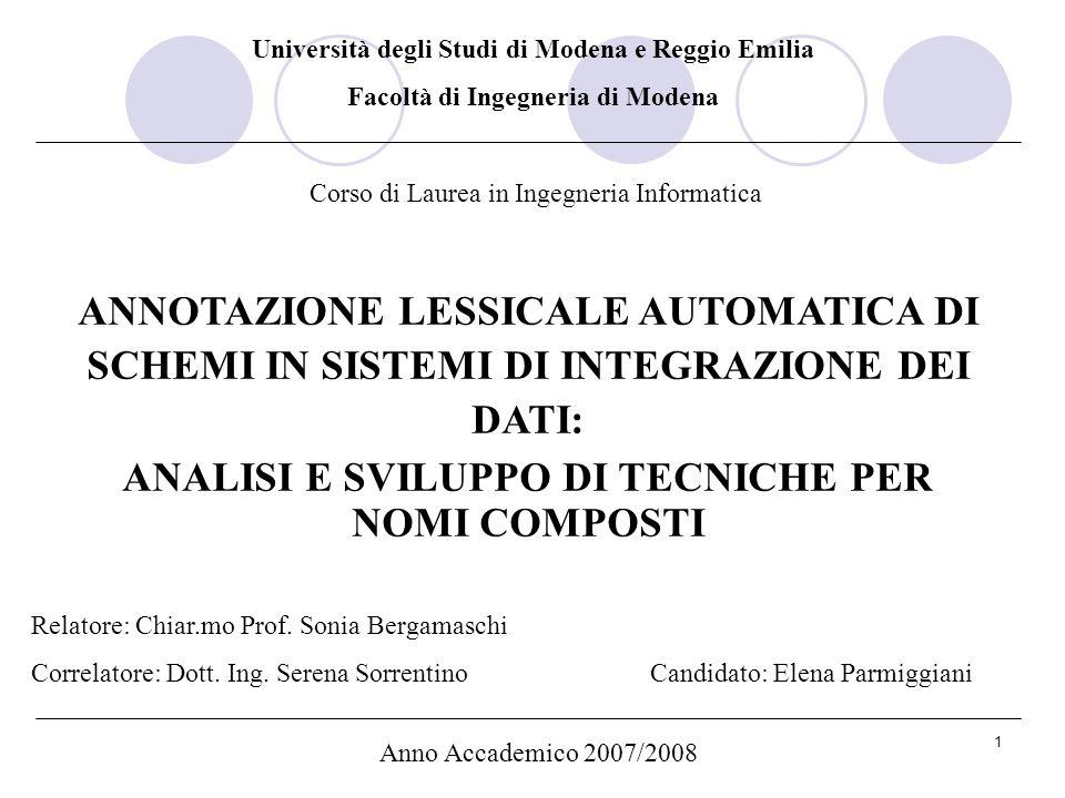 1 Università degli Studi di Modena e Reggio Emilia Facoltà di Ingegneria di Modena Corso di Laurea in Ingegneria Informatica Relatore: Chiar.mo Prof.