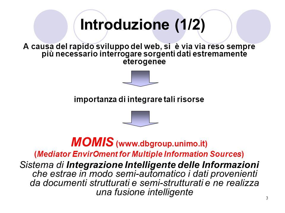 3 Introduzione (1/2) A causa del rapido sviluppo del web, si è via via reso sempre più necessario interrogare sorgenti dati estremamente eterogenee im