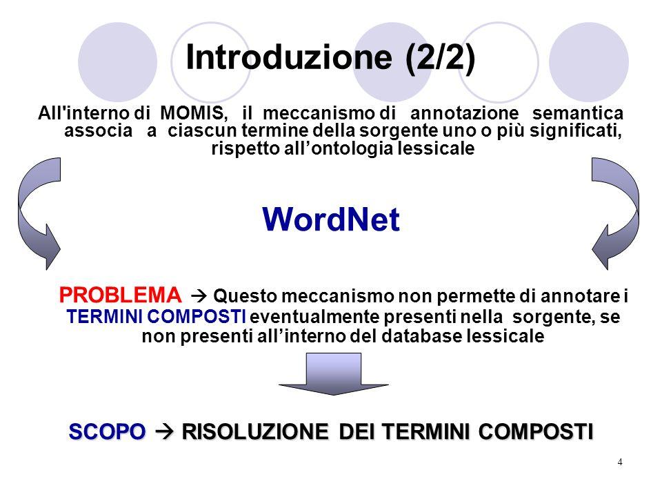 4 Introduzione (2/2) All'interno di MOMIS, il meccanismo di annotazione semantica associa a ciascun termine della sorgente uno o più significati, risp