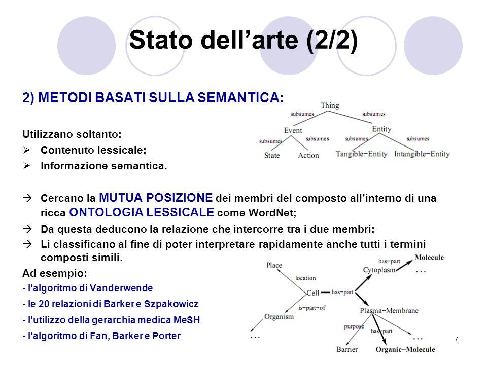7 Stato dellarte (2/2) 2) METODI BASATI SULLA SEMANTICA: Utilizzano soltanto: Contenuto lessicale; Informazione semantica. Cercano la MUTUA POSIZIONE