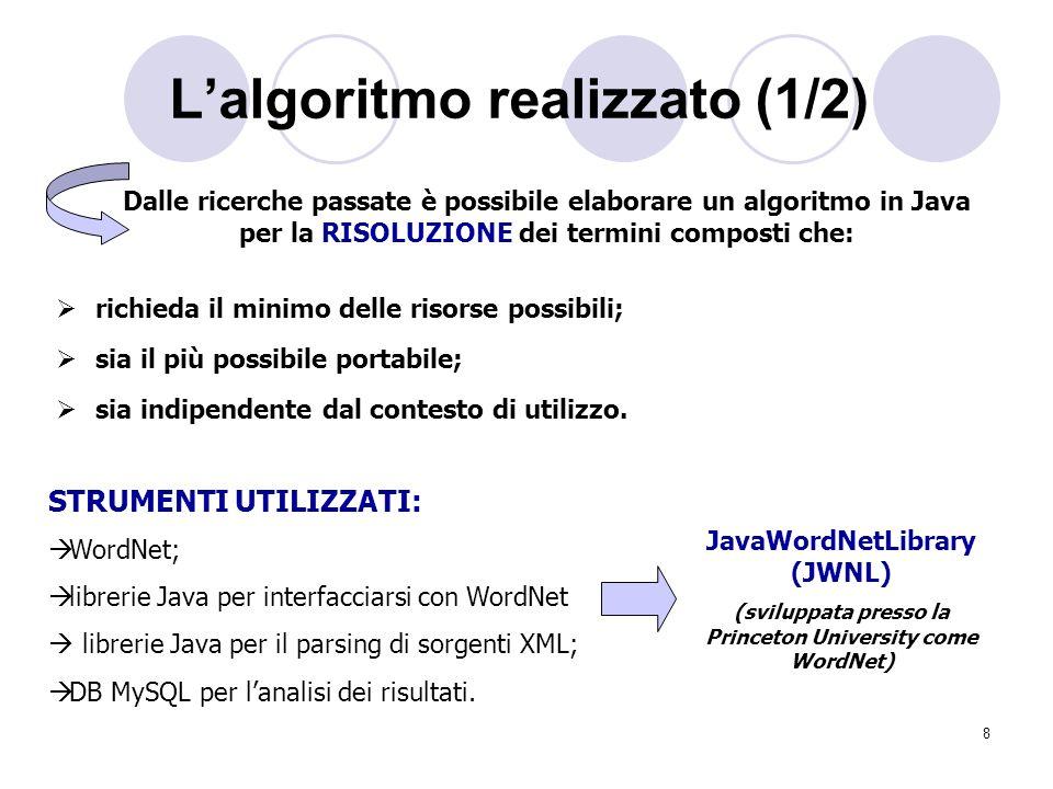 8 Lalgoritmo realizzato (1/2) Dalle ricerche passate è possibile elaborare un algoritmo in Java per la RISOLUZIONE dei termini composti che: richieda