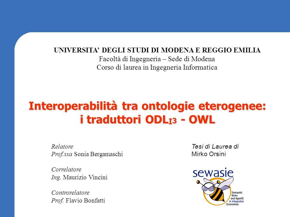 Interoperabilità tra ontologie eterogenee: i traduttori ODL I 3 - OWL UNIVERSITA DEGLI STUDI DI MODENA E REGGIO EMILIA Facoltà di Ingegneria – Sede di
