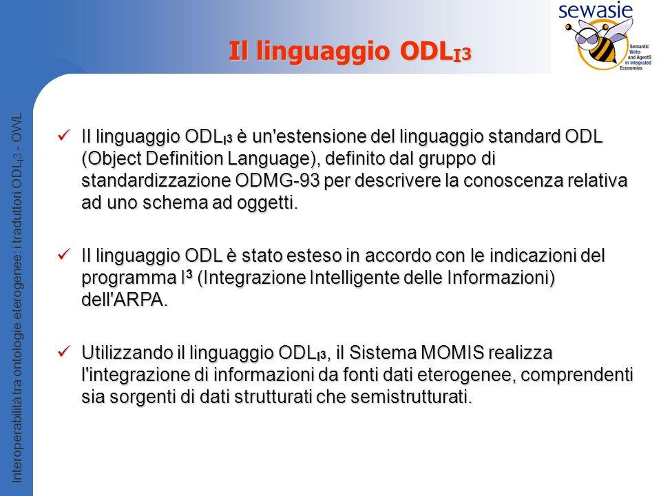 Interoperabilità tra ontologie eterogenee: i traduttori ODL I 3 - OWL Il linguaggio ODL I 3 Il linguaggio ODL I 3 è un estensione del linguaggio standard ODL (Object Definition Language), definito dal gruppo di standardizzazione ODMG-93 per descrivere la conoscenza relativa ad uno schema ad oggetti.