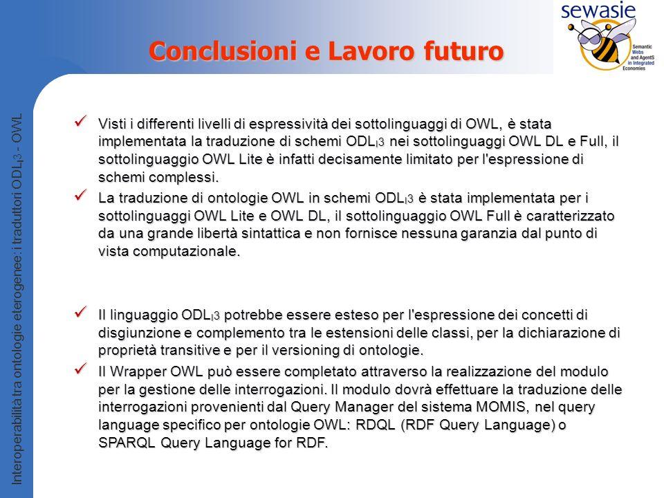 Interoperabilità tra ontologie eterogenee: i traduttori ODL I 3 - OWL Conclusioni e Lavoro futuro Visti i differenti livelli di espressività dei sottolinguaggi di OWL, è stata implementata la traduzione di schemi ODL I 3 nei sottolinguaggi OWL DL e Full, il sottolinguaggio OWL Lite è infatti decisamente limitato per l espressione di schemi complessi.