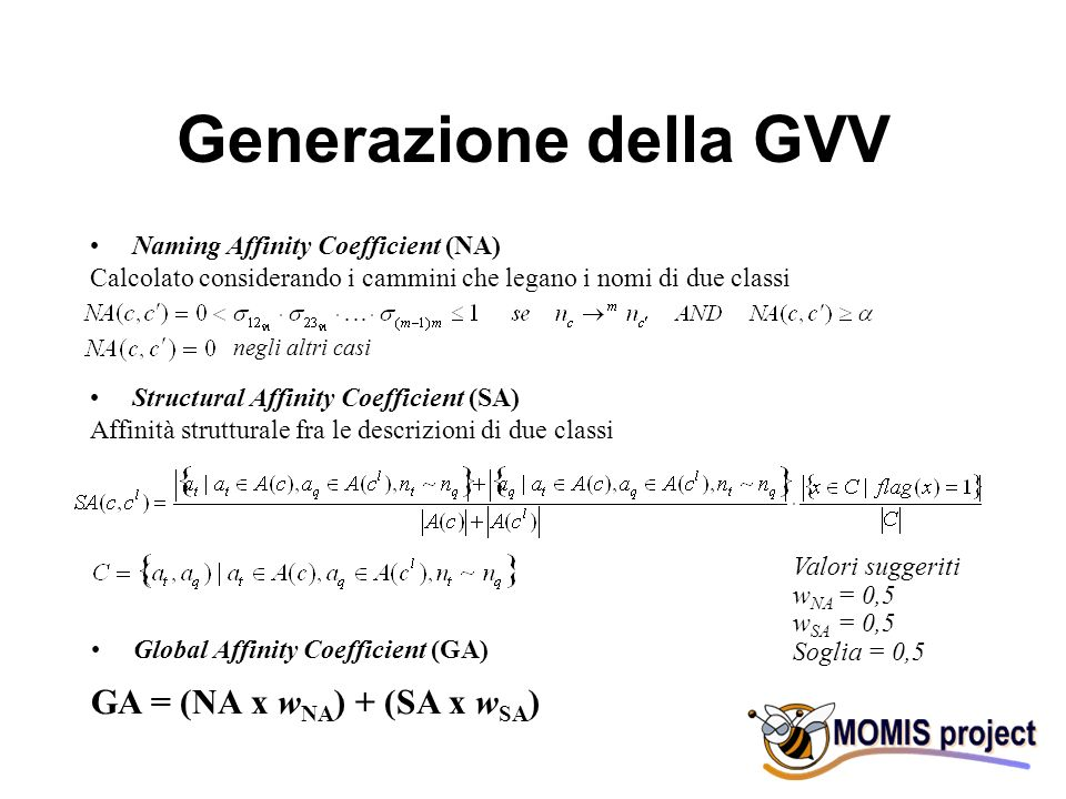 Annotazione della GVV G = G = Classe Globale annotata CS.Class= UNI.Course= UNI.Teaching= CS.Class= UNI.Course= UNI.Teaching= Classi Locali annotate class#3 = course#1 = education imparted in a series of lessons or class meetings teaching#3 = activities that impart knowledge class#3 = course#1 = education imparted in a series of lessons or class meetings teaching#3 = activities that impart knowledge SignificatiWordNet G= {CS.Class, UNI.Course, UNI.Teaching} significati nomi nome più generale significato più generale Relazioni del Common Thesaurus