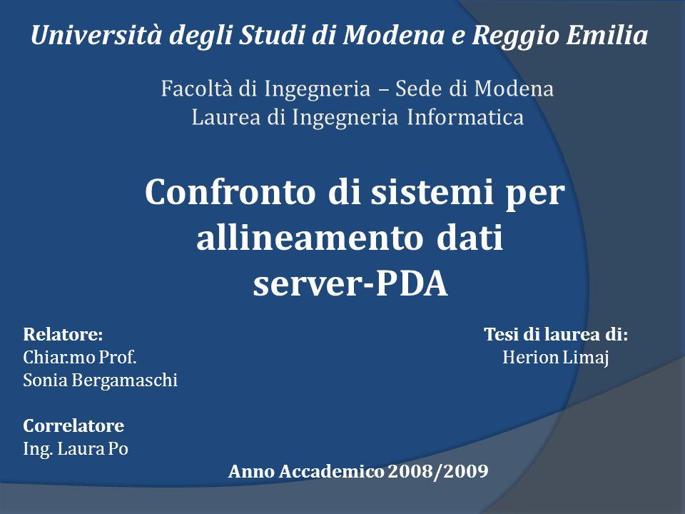 Facoltà di Ingegneria – Sede di Modena Laurea di Ingegneria Informatica Confronto di sistemi per allineamento dati server-PDA Università degli Studi d