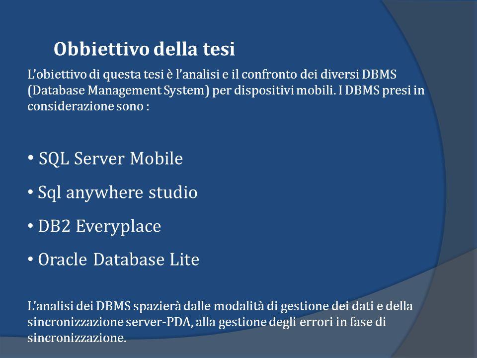 Obbiettivo della tesi Lobiettivo di questa tesi è lanalisi e il confronto dei diversi DBMS (Database Management System) per dispositivi mobili. I DBMS