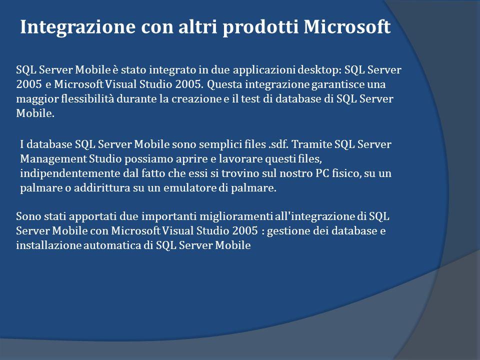 Installazione di SQL Server Mobile I file.cab che si devono copiare dal computer dove è installato Visual Studio per poi essere installati direttamente dal PDA sono: 1.sqlce30.piattaforma.processore.cab 2.sqlce30.repl.piattaforma.processore.cab 3.sqlce30.dev.lingua.piattaforma.processore.cab I file.cab sono forniti per i vari processori e per le varie piattaforme: sotto x:\Program Files\Microsoft Visual Studio 8\SmartDevices\SDK\SQL Server\Mobile\v3.0 si trovano infatti due directory: 1) wce400 con le varie dll e cab per la versione 4.x di Windows CE 2)wce500 con le varie dll e cab per la versione 5.x di Windows CE Allinterno di queste directory cè una directory per ogni processore supportato.