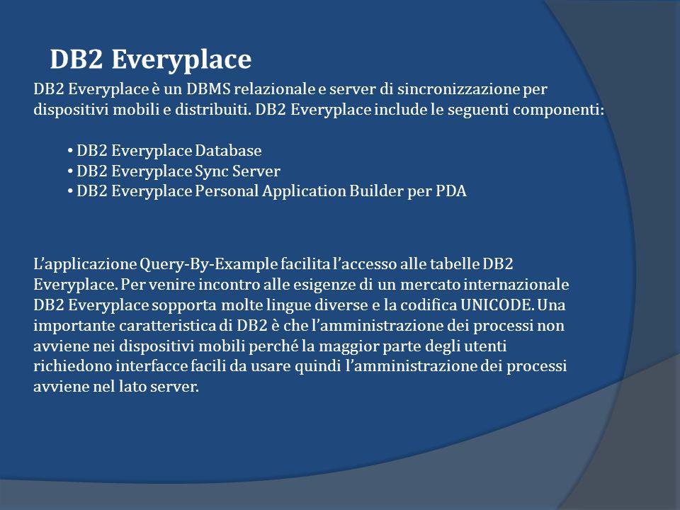 Lapplicazione Query-By-Example facilita laccesso alle tabelle DB2 Everyplace. Per venire incontro alle esigenze di un mercato internazionale DB2 Every