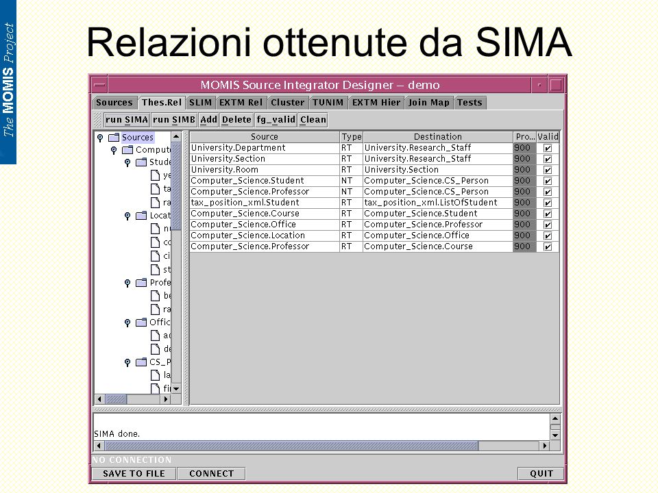 Analisi sorgenti semistrutturate: Esempio Interface Student (source semistructured tax_Position_xml key student_code) { attribute string name; attribute string faculty_name; attribute integer student_code; attribute integer tax_fee; }; Interface ListOfStudent (source semistructured tax_Position_xml ) { attribute set Student; };.sparc20.dsi.unimo.it