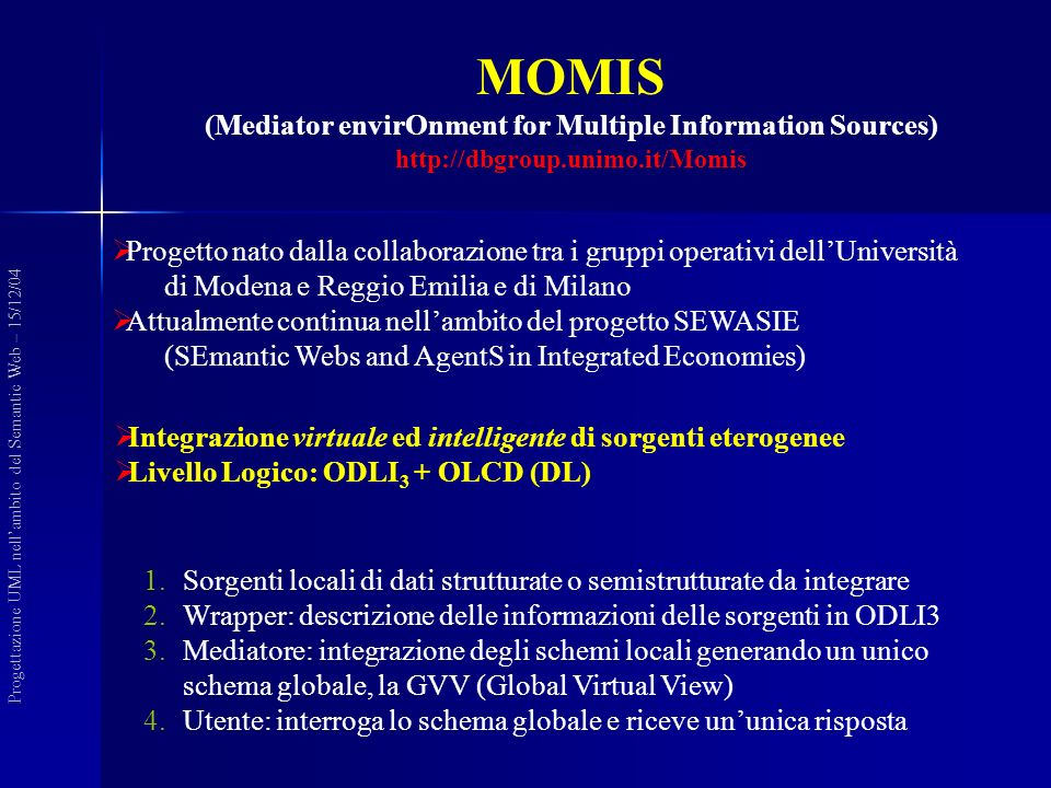 MOMIS (Mediator envirOnment for Multiple Information Sources) http://dbgroup.unimo.it/Momis Integrazione virtuale ed intelligente di sorgenti eterogenee Livello Logico: ODLI 3 + OLCD (DL) Progettazione UML nellambito del Semantic Web – 15/12/04 Progetto nato dalla collaborazione tra i gruppi operativi dellUniversità di Modena e Reggio Emilia e di Milano Attualmente continua nellambito del progetto SEWASIE (SEmantic Webs and AgentS in Integrated Economies) 1.Sorgenti locali di dati strutturate o semistrutturate da integrare 2.Wrapper: descrizione delle informazioni delle sorgenti in ODLI3 3.Mediatore: integrazione degli schemi locali generando un unico schema globale, la GVV (Global Virtual View) 4.Utente: interroga lo schema globale e riceve ununica risposta