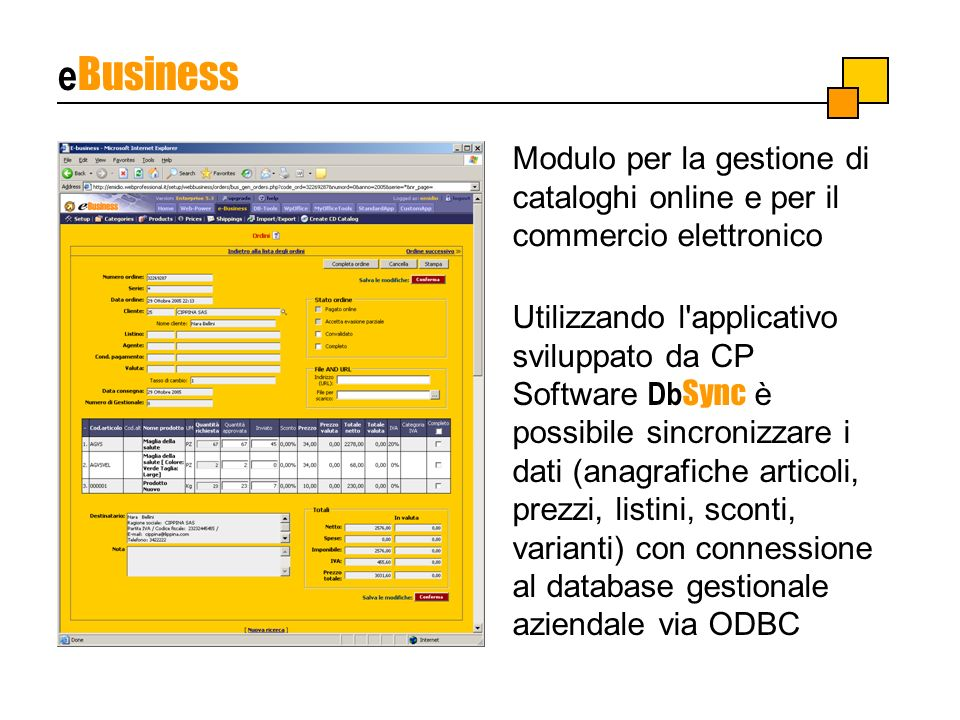 e Business Modulo per la gestione di cataloghi online e per il commercio elettronico Utilizzando l'applicativo sviluppato da CP Software Db Sync è pos