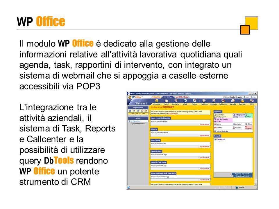 WP Office Il modulo WP Office è dedicato alla gestione delle informazioni relative all'attività lavorativa quotidiana quali agenda, task, rapportini d