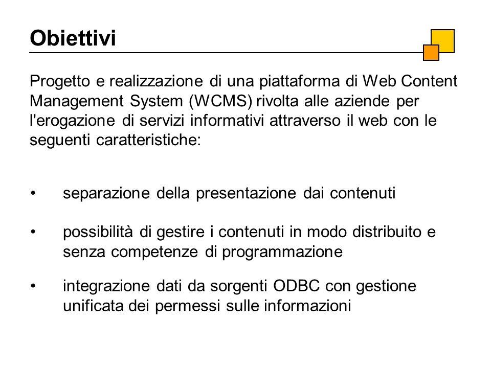 Obiettivi Progetto e realizzazione di una piattaforma di Web Content Management System (WCMS) rivolta alle aziende per l'erogazione di servizi informa