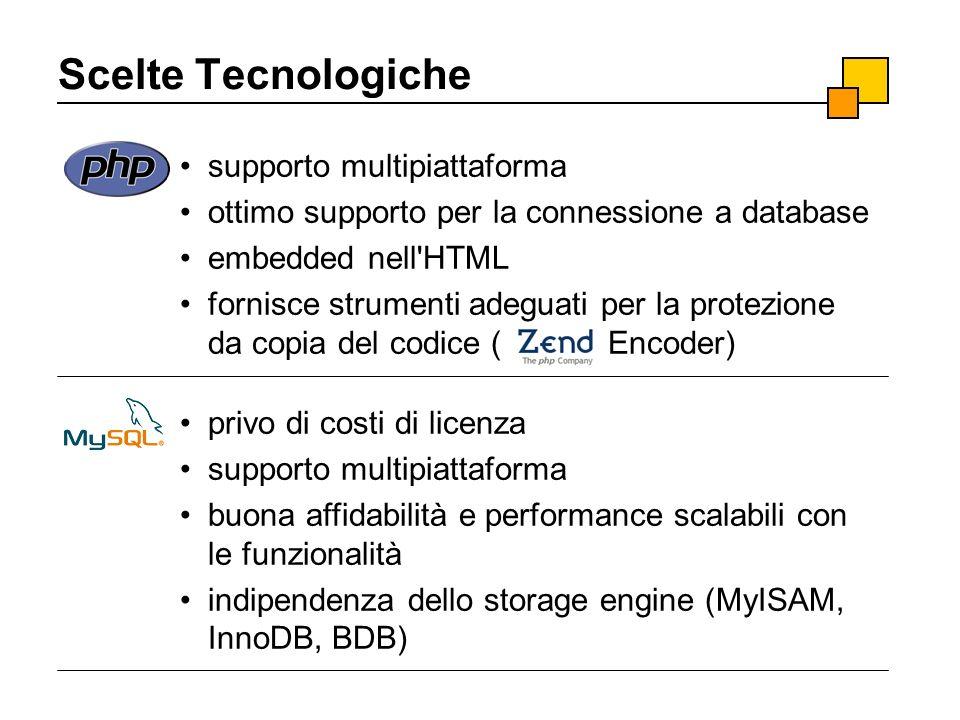 Scelte Tecnologiche supporto multipiattaforma ottimo supporto per la connessione a database embedded nell'HTML fornisce strumenti adeguati per la prot