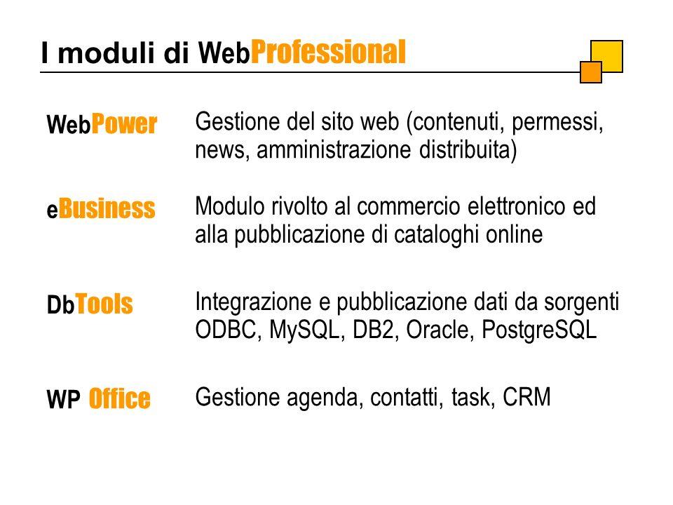 I moduli di Web Professional Web Power e Business Db Tools WP Office Integrazione e pubblicazione dati da sorgenti ODBC, MySQL, DB2, Oracle, PostgreSQ