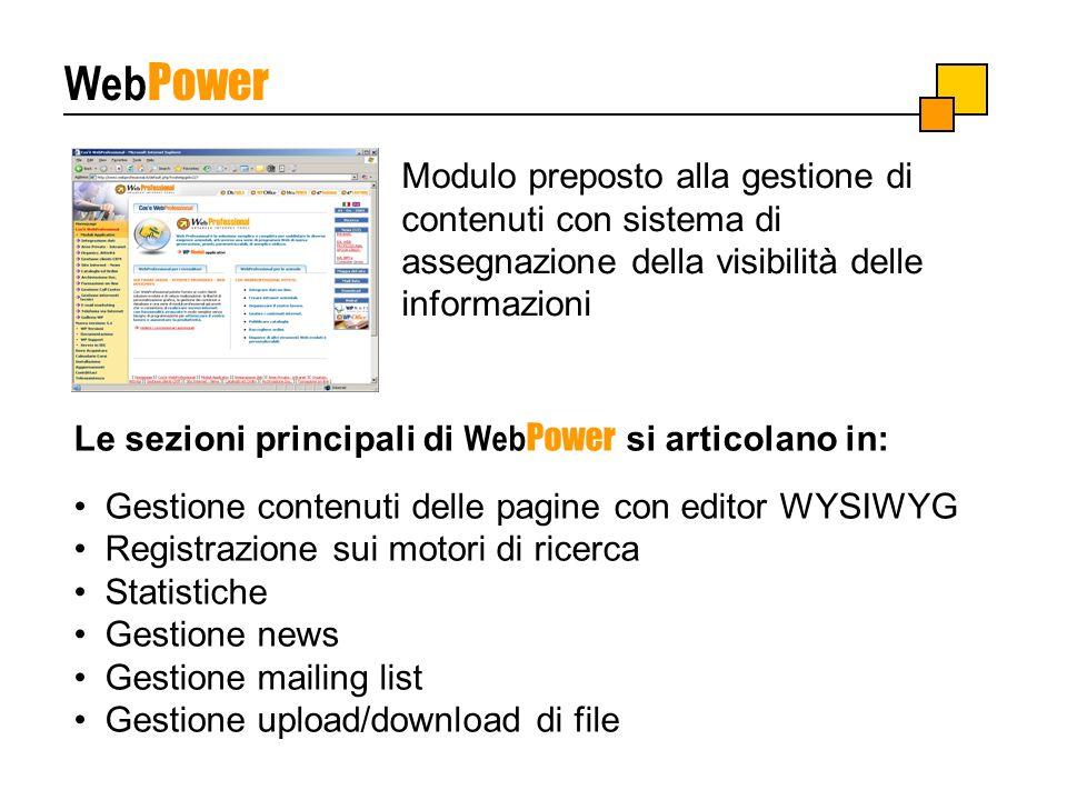 Web Power Le sezioni principali di Web Power si articolano in: Gestione contenuti delle pagine con editor WYSIWYG Registrazione sui motori di ricerca