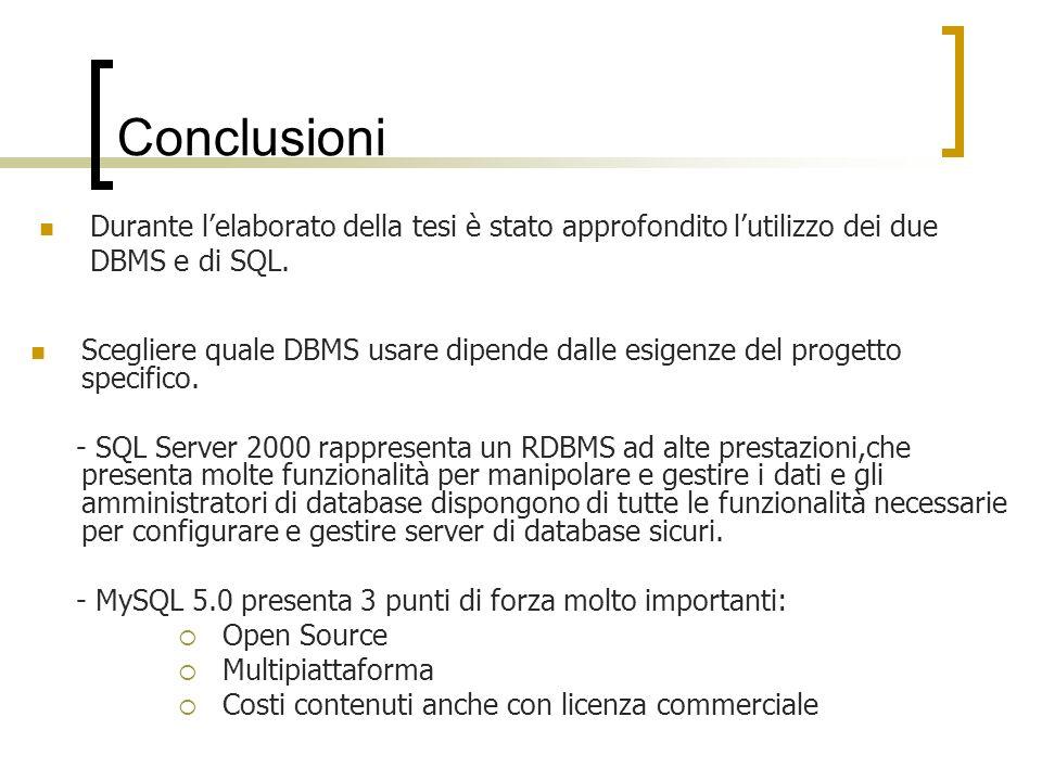 Conclusioni Scegliere quale DBMS usare dipende dalle esigenze del progetto specifico.
