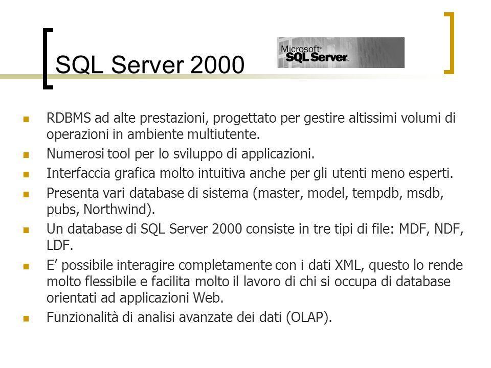 SQL Server 2000 RDBMS ad alte prestazioni, progettato per gestire altissimi volumi di operazioni in ambiente multiutente.