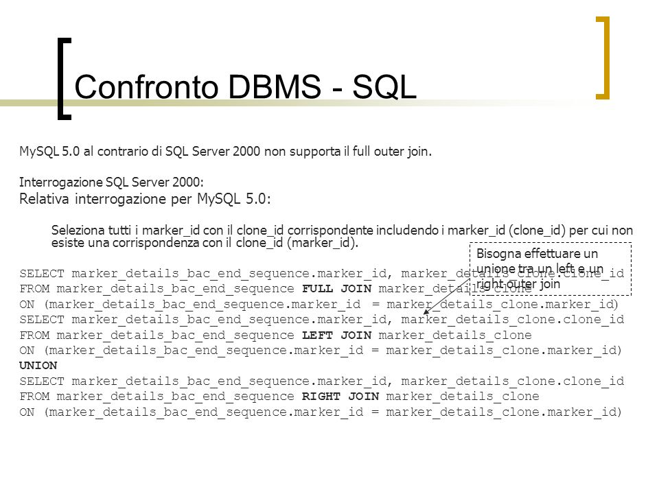 Confronto DBMS - SQL MySQL 5.0 al contrario di SQL Server 2000 non supporta il full outer join.