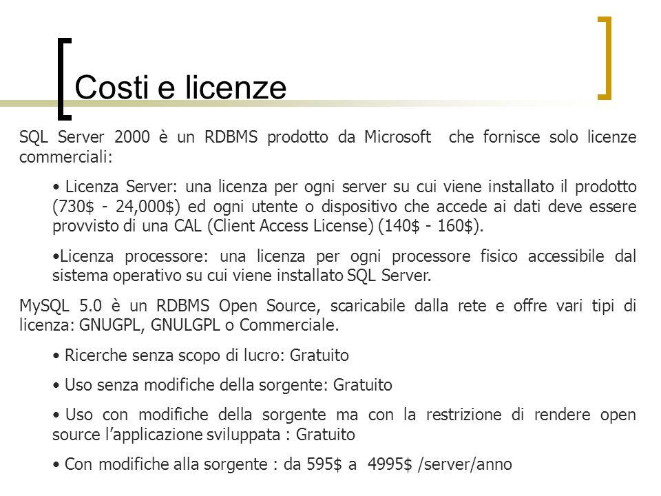 Costi e licenze SQL Server 2000 è un RDBMS prodotto da Microsoft che fornisce solo licenze commerciali: Licenza Server: una licenza per ogni server su cui viene installato il prodotto (730$ - 24,000$) ed ogni utente o dispositivo che accede ai dati deve essere provvisto di una CAL (Client Access License) (140$ - 160$).