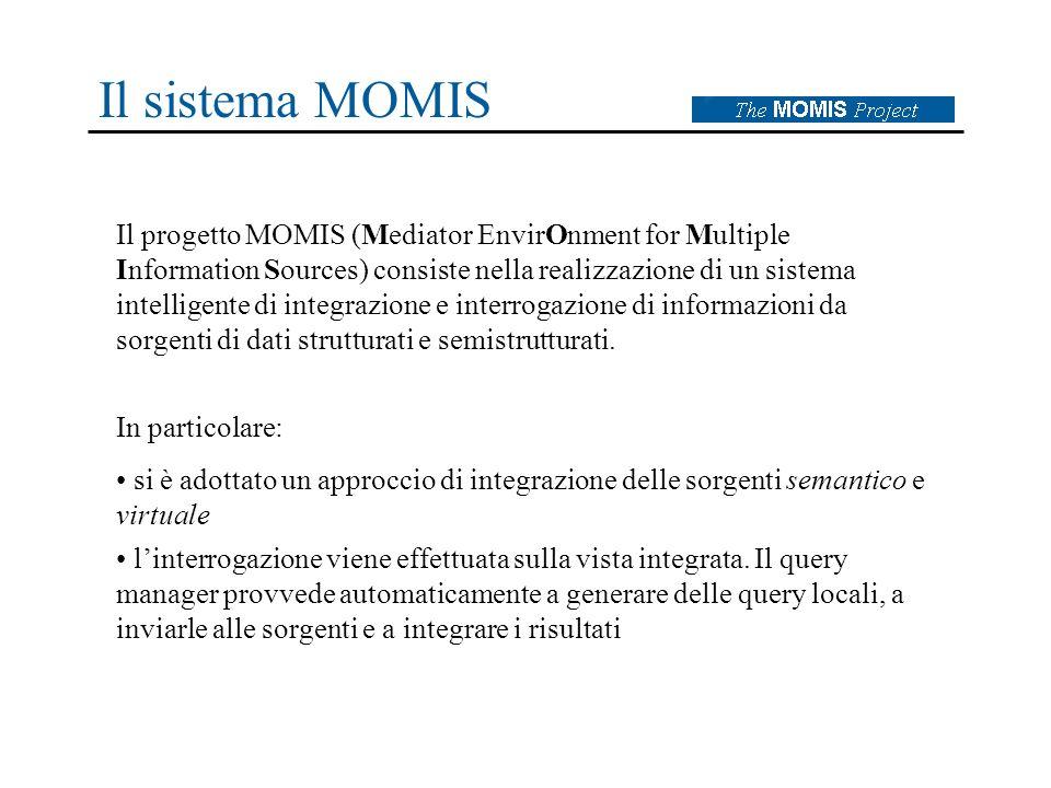Il sistema MOMIS Il progetto MOMIS (Mediator EnvirOnment for Multiple Information Sources) consiste nella realizzazione di un sistema intelligente di integrazione e interrogazione di informazioni da sorgenti di dati strutturati e semistrutturati.